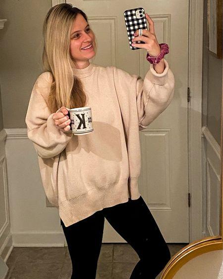 Cozy warm outfit, leggings, oversized sweater, fuzzy socks, mom outfit, mom uniform, free people, Nordstrom, sale, velvet scrunchie #liketkit @liketoknow.it http://liketk.it/38pgI