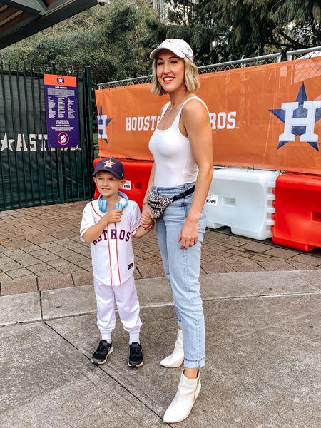 Baseball game, baseball outfit, bodysuit, levis, white booties   #LTKstyletip #LTKfamily #LTKunder100