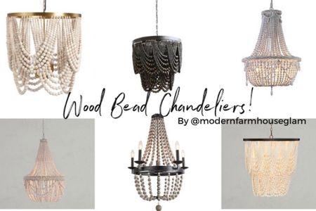 Wooden beaded chandeliers, lighting fixtures, modern farmhouse lighting, Pottery Barn, Wayfair, Amazon,  Family room lighting, bedroom Lighting, Entryway Lighting Modern Farmhouse Glam. Wood bead chandelier   @liketoknow.it #liketkit http://liketk.it/3iiI5 #LTKsalealert #LTKhome @liketoknow.it.home You can instantly shop all of my looks by following me on the LIKEtoKNOW.it shopping app