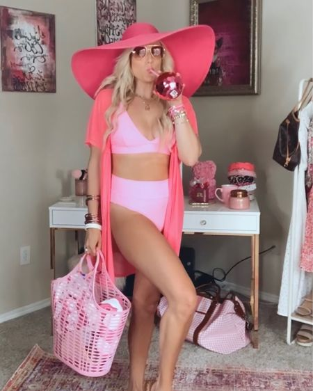 Aerie high waisted pink swimsuit size L  Pink swimsuit coverup  Pink floppy hat - sold out, linked blush one for &20 and a similar color.  Pink studded sandals TTS  Buddy love sunglasses and budha girl bracelet stacks - code PURPOSEINTHEPINK for 15% off   http://liketk.it/3hMNv #liketkit @liketoknow.it #LTKswim #LTKunder50 #LTKsalealert