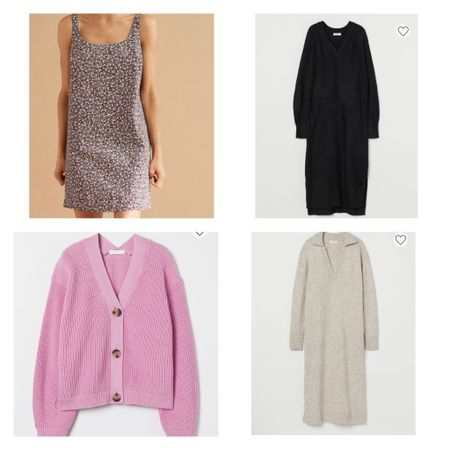 Recent purchases from H&M. Sweater dress, pink chunky cardigan, floral dress