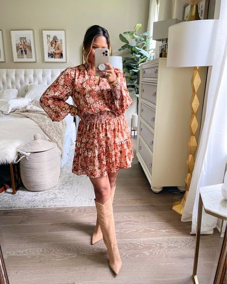 How adorable is this printed mini dress for fall? Wearing sz XS! Comes in 2 other colors! … Take 15% OFF with code: HAUTE15 … #gibsonlook #minidress # smockeddress #kneehighboots #boots #falloutfit #fallstyle #floraldress #fallboots   #LTKsalealert #LTKshoecrush #LTKunder100