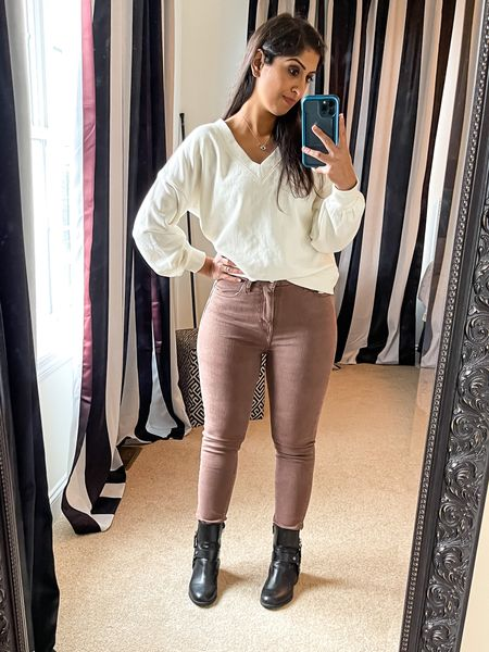 Sweatshirt: XXS Pants: 6 (These were pretty tight on me so definitely size up). I couldn't find the same jeans so I've linked the brand of jeans. The quality seemed great.    #LTKunder50 #LTKunder100 #LTKbacktoschool