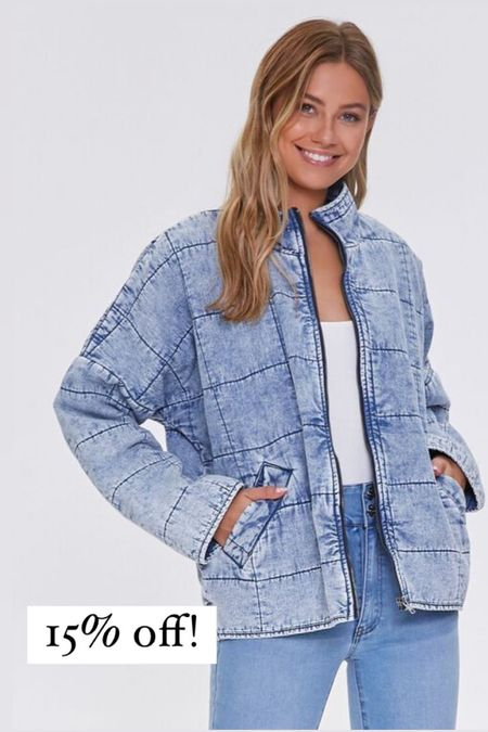 Free people quilted jacket look for less. This jacket is 15% off and looks just like the free people version. I wear a medium and it's oversized but true to size.  #LTKSeasonal #LTKsalealert #LTKunder50