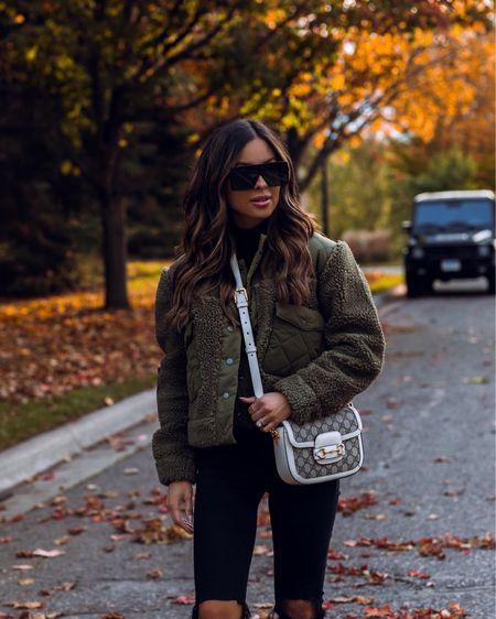 Cozy fall outfit ideas  Gucci combat boots  Gucci Horsebit 1955 mini bag  Rails olive green shearling jacket   #LTKitbag #LTKstyletip #LTKSeasonal
