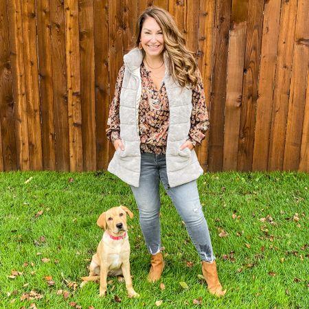Evereve New Arrivals   Blouse tts, L // Vest size down, M // Similar KUT jeans tts, 12 // Booties size up 1/2   Fall Outfits Evereve  Faux Fur Vest Grey Jeans  Cognac Booties   #LTKstyletip #LTKcurves #LTKSeasonal
