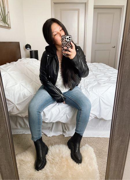 Nordstrom Anniversary Sale | Blank NYC Hooded Faux Leather Jacket (wearing size M) | Marc Fisher Chelsea Boots (wearing size 8)   #LTKunder100 #LTKsalealert #LTKstyletip