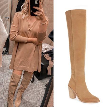 Over the Knee Boots, Tan Sweater Dress, Fall Outfit  #LTKshoecrush #LTKSeasonal #LTKunder100