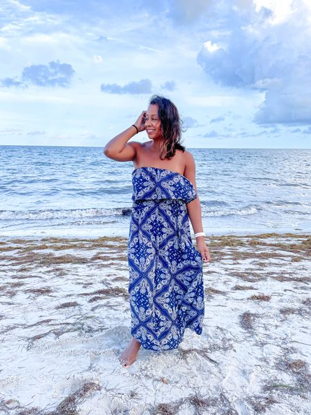 Perfect maxi dress for that wintertime warm weather getaway and the best part - no hemming required for petites! Fits true to size, and one of my favorites for those beach vacations.  #LTKunder50 #LTKSeasonal #LTKtravel