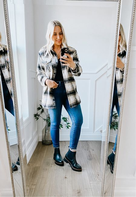 Nordstrom Anniversary Sale   Plaid shacket - thicker and warm, knit lined inside, comes in multiple colors. Runs true to size.   Chelsea boot - soft, waterproof, really comfortable. Fit true to size.   Fall outfit, black Chelsea boot, booties, plaid jacket, shirt jacket, #nsale    #LTKsalealert #LTKshoecrush #LTKstyletip