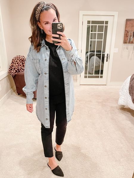 It's Fall y'all!! Today was the first cool weather fall day and I am hear for it! Also the first day I've worn pants to school and not a dress or a skirt. This long denim jacket is a fun twist on a closet staple. How many different variations of denim jackets do you have?