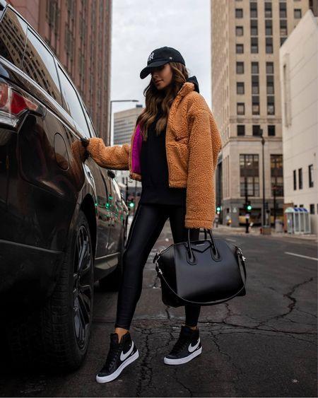 Nike fall outfit Nike shearling jacket Nike hoodie Nike leggings  Nike blazer sneakers  #LTKstyletip #LTKunder100 #LTKfit
