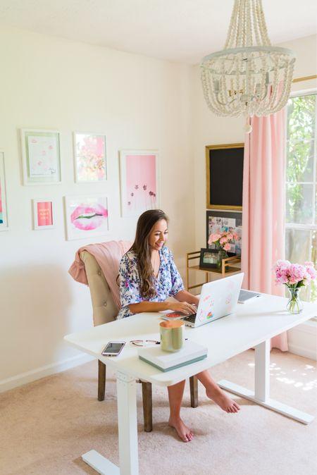 My bright and fun home office! 💕 Desk is Autonomous brand (https://elizabethmccravy.com/autonomous)   #LTKhome #StayHomeWithLTK