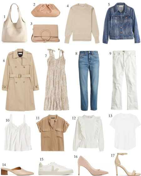 Spring Capsule Closet 2020 // Neutral spring outfit idea, timeless spring essentials, neutral spring look #liketkit  #LTKshoecrush #LTKspring #LTKstyletip http://liketk.it/2Kj25 @liketoknow.it  neutral tote, bottega veneta pouch dupe, chloe hana dupe, lightweight sweater, jean jacket, classic trench coat, floral midi dress, spring jeans, white cropped jeans, white cami, safari tee, eyelet blouse, white tee, nude mules, veja esplar in cream, blush pumps, ankle wrap sandals