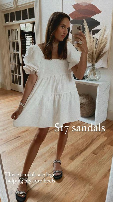 Little white dress and $17 sandals   #LTKunder50 #LTKshoecrush #LTKsalealert