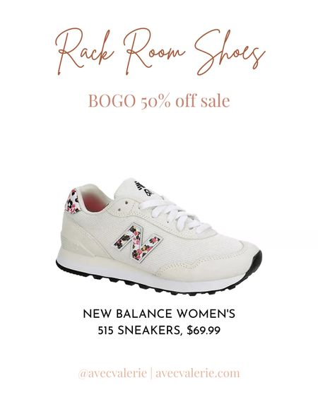 A notable item from the Rack Room Shoes' sale is a pair of New Balance Women's 515 Sneakers in off-white. The classic New Balance Women's 515 Sneakers are vintage-inspired with a modern touch. The shoes are suitable for women who are physically active or need comfort for their soles. You can wear these when you're out running or walking around the city. The sneakers are $69.99 at Rack Room Shoes. And if you get a second pair, you'll get them for 50% off!  #LTKsalealert #LTKfit #LTKshoecrush