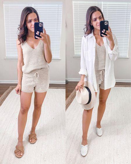 Lulus haul // beige drawstring sweater knit shorts (s), beige knit sweater tank (xs), matching Summer set http://liketk.it/3hnOo #liketkit @liketoknow.it #LTKunder50 #LTKstyletip