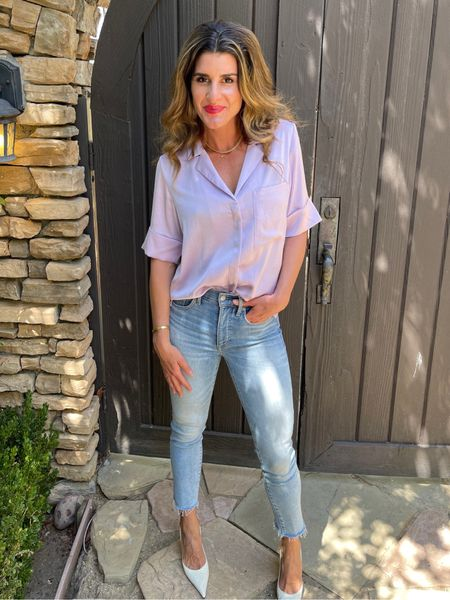 Half pj's, half dress short- camp shirts for the win! Wear buttoned up or open over anything. Now on sale!   #LTKunder50 #LTKworkwear