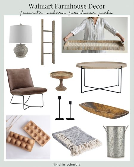 Modern Farmhouse Home Decor Finds from Walmart 🤍 Refresh your living room style with these beautiful decorative objects, industrial coffee table, leather accent chair, rustic blanket ladder, throw blankets, table lamp, neutral large tray and natural wood tones. Throw in some black candlestick holders and a galvanized bucket vase for some additional textures. I especially love these wooden egg storage trays! Perfect for farm fresh eggs 🥚  .  Shop my daily looks by following me on the LIKEtoKNOW.it shopping app http://liketk.it/3gQFV   .  #liketkit @liketoknow.it #LTKsalealert #LTKunder100 #LTKhome @liketoknow.it.home