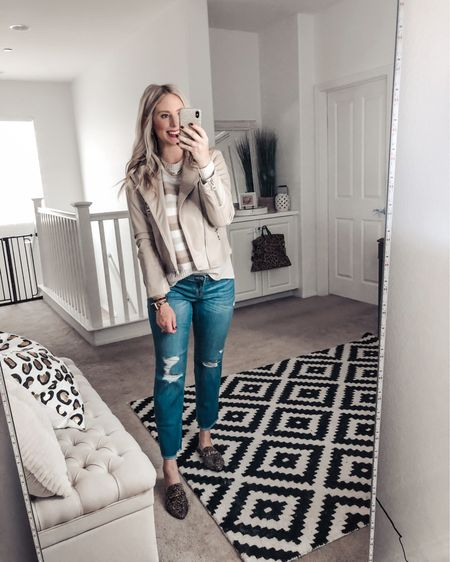This striped sweater is under $12 and so soft! Loving it with this moto jacket! Such a great fall outfit! M in both   http://liketk.it/2XsaU #liketkit @liketoknow.it #LTKunder50 #LTKstyletip #LTKsalealert