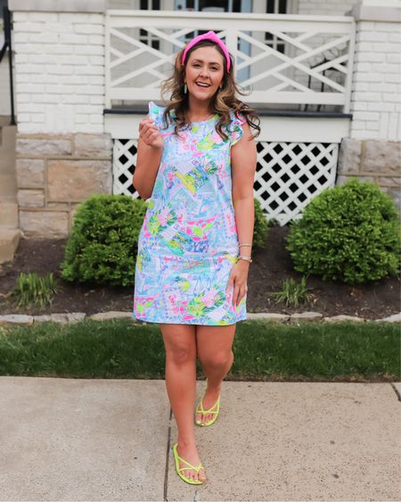 Still rocking the neons with this cute ruffle sleeve dress from Lilly Pulitzer, neon pink knot headband, and neon yellow sandals. Great end of summer look that has a great beach vibe.   Dress and shoes fit TTS.   #LTKbacktoschool #LTKunder50 #LTKstyletip
