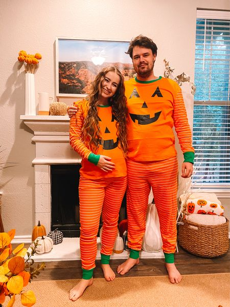 Matching pumpkin Halloween pajamas for the family! Both women and men fit true to size. I sized up one for the bump!    #LTKunder50 #LTKSeasonal #LTKbump