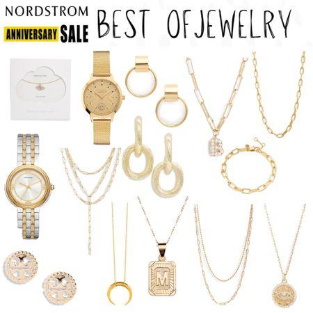 #nsale jewelry Nordstrom anniversary sale, gold jewelry, huggie earrings, gold hoops, hoop earrings, necklace, bracelet, paper clip necklace   #LTKsalealert #LTKunder50 #LTKunder100