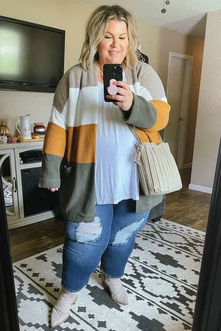The cutest casual plus size fall outfit full of Walmart finds! This striped cardigan runs big so you can size down, and these plus size Sofia Vergara jeans fit perfectly! This is plus size fashion at its best!   #LTKunder50 #LTKcurves #LTKSeasonal