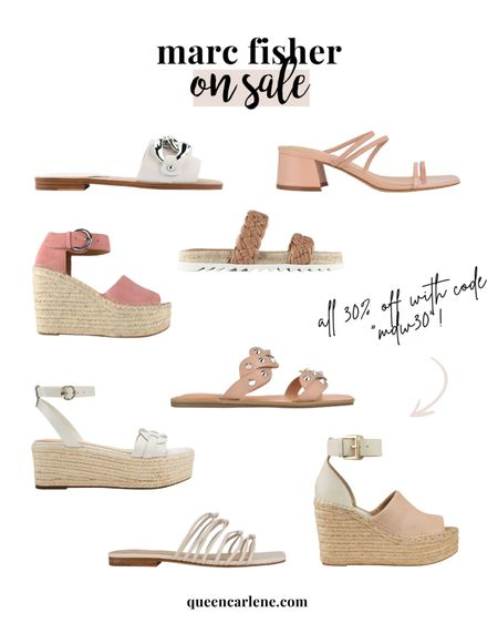 """Marc Fisher sandals, wedges, and shoes on sale 30% off with code """"MDW30"""" #liketkit http://liketk.it/3gvo7 @liketoknow.it #LTKunder100 #LTKshoecrush #LTKsalealert     summer outfits, shoe sale, wedges, neutral shoes, sandals"""
