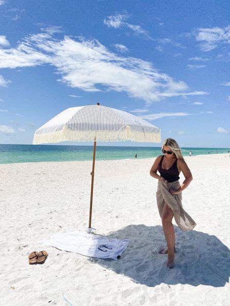 Beach umbrella. Brown swimsuit. Swim coverup. Monday swimwear   #LTKstyletip #LTKsalealert #LTKSeasonal