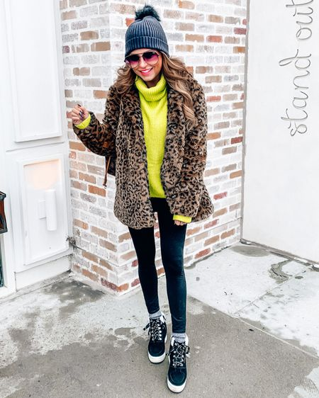 """The looks I got running errands yesterday in this outfit 😂 But y'all know I'm not a """"blend in"""" kind of girl! This neon yellow sweater kept me SO warm and I love the color - it's exactly what I needed to brighten up my Monday! It's under $50 + 20% off with code saraspic20 from @shopamelias - linked in Stories!  - - - Click the link in my bio to shop the rest of my outfit! http://liketk.it/2IfV8 @liketoknow.it #liketkit #LTKunder100 #LTKunder50 #LTKshoecrush"""