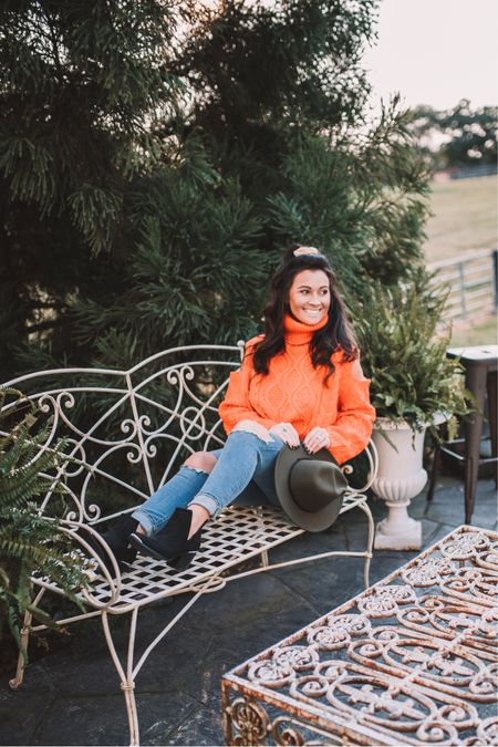 FALLing in love with bright orange vibes this season!! Paired with an olive fedora, and black, steel tipped booties   #fall #fashion #winery #vineyard #denim #fallvibes #october #fashionblogger #blogger #LTKunder50 #LTKunder100 #LTKbeauty @liketoknow.it.home #liketkit @liketoknow.it    Shop my daily looks by following me on the LIKEtoKNOW.it shopping app http://liketk.it/2YMQW
