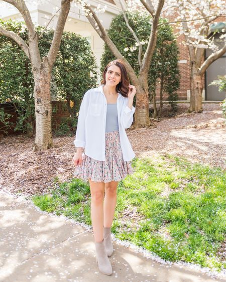 Shop the Mint floral skort (tts), Abercrombie bodysuit, white tunic, taupe booties http://liketk.it/3hku9 #liketkit @liketoknow.it #ltkday