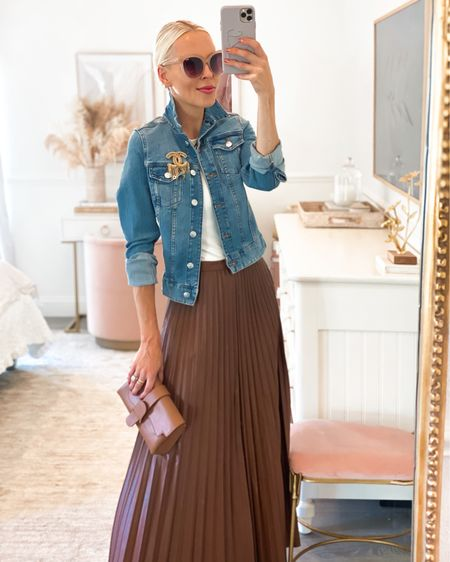 Girl with curves QVC collection faux leather pleated skirt in brown. Denim jacket. Sentence bag. Neutral style.   #LTKstyletip #LTKunder100 #LTKSeasonal