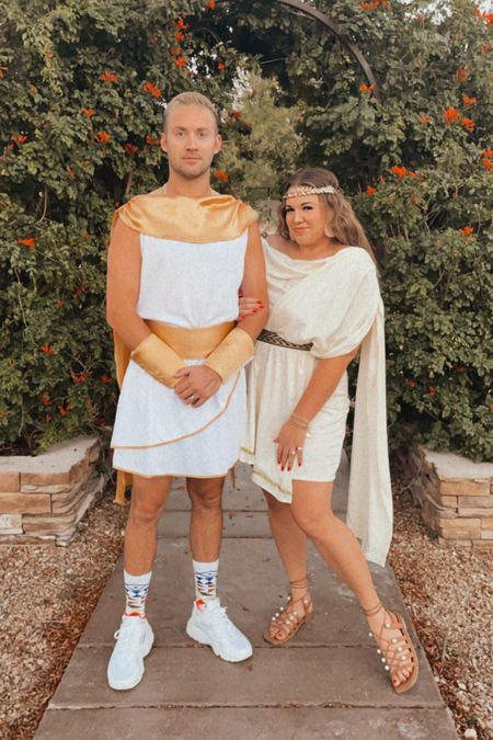 couples halloween costume greek god and goddess toga. robbie is wearing the men's medium and i'm wearing the xl!   #LTKmens #LTKSeasonal #LTKcurves