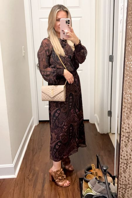 Perfect fall wedding Dress and it is Alison joy from evereve and tts. YSL wallet chain bag is the best decision I've ever made   #LTKunder100 #LTKwedding #LTKitbag