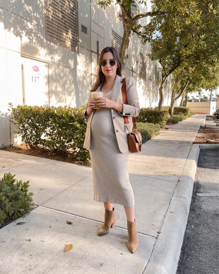 Favorite bump friendly fall outfit! Love this ribbed dress, plaid blazer, brown crossbody bag and camel boots. Dress and blazer are under $30!  #LTKbump #LTKSeasonal #LTKunder50