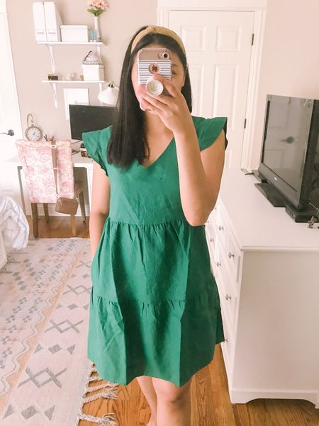 """The perfect linen dress. It's only $34. Fits true to size. Length is just above the knee and I'm 5'4"""". This is a dress with pockets. It's an amazon fashion find. Highly recommend it and it's a great Labor Day weekend outfit too! I'm also wearing a knotted headband that's an amazon find as well. It comes with 9 headbands for $11!   #LTKSeasonal #LTKstyletip #LTKunder50"""