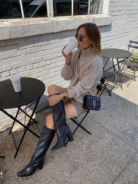 Black to the knee mango boots, H&M mini skirt, wearing a size small  #LTKunder50 #LTKSeasonal #LTKunder100