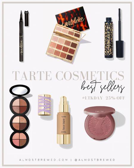Tarte Cosmetics Amazonian clay 12-hour blush, Face tape foundation, tartelette toasted eyeshadow palette, man eater mascara, man water temptation eyeshadow wardrobe, sex kitten eyeliner.   #LTKbeauty #LTKDay #LTKunder50