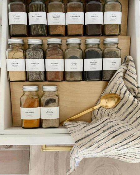 Glass spice jars, white labels, and wood in-shelf organizer to keep spices organized! Love these to keep it uniformed and so clean and chic. Also linking other home organization favorites.  #LTKunder50 #LTKstyletip #LTKhome