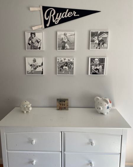 A collection of sports photos (Mixtiles) featuring Matt, his dad, brother, my brother, and myself from growing up! We love this sports pennant flag we found on Etsy to go with the sports theme. http://liketk.it/3a1kM #liketkit @liketoknow.it #LTKkids #LTKfamily #LTKunder100 @liketoknow.it.family @liketoknow.it.home