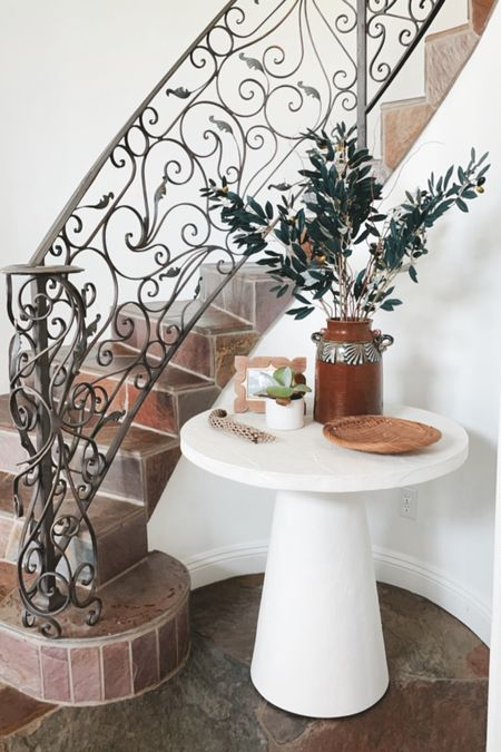 I'm trying out these faux olive branches from Afloral for my entryway. I love putting fresh flowers there BUT it's hard to keep that up on a regular basis. Need something fake for the in between times. #fauxbranches  #LTKstyletip #LTKhome