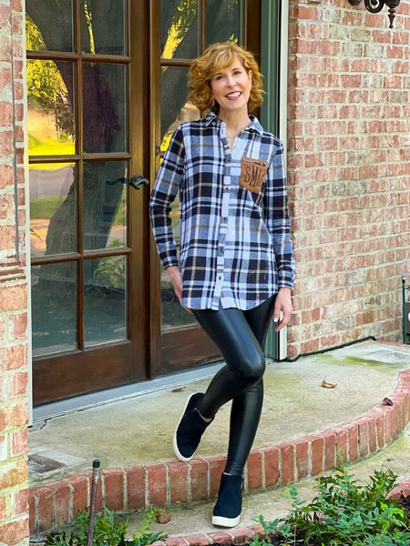 Flannel shirt, plaid shirt, monogrammed shirt, fall shirt, Shacket  fall outfit, fall look, Fall plaid shirt, faux leather leggings, wedge sneakers, faux suede sneakers  This cozy flannel button up shirt in a yummy fall plaid sweater s perfect for this time of year! I love the patch pocket that can be monogrammed or not! I paired it with AFFORDABLE faux leather leggings (I like them WAY more than the nearly $100 Spanx pair I own!) I finished off my look with black wedge sneakers  #LTKstyletip #LTKSeasonal #LTKshoecrush