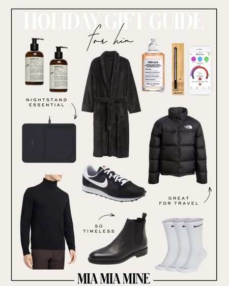 Men's gift guide - north face packable puffer, theory cashmere sweater, AllSaints Chelsea boots, Nike sneakers, charging tray, men's robe   #LTKunder100 #LTKGiftGuide #LTKmens