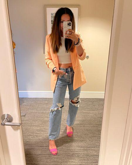 easy girls night out or date night outfit! Mom jeans, crop tank, peach blazer, block heels http://liketk.it/3hAYt #liketkit @liketoknow.it #LTKstyletip #LTKshoecrush #LTKunder100