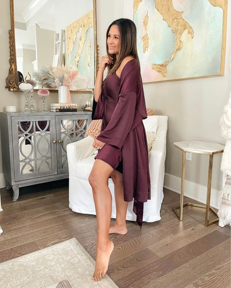 Love this matching satin chemise & robe from SOMA! This wine color is the perfect warm color for fall! #pajamas #soma #satinpajamas #chemise #satinrobe   #LTKHoliday #LTKunder100