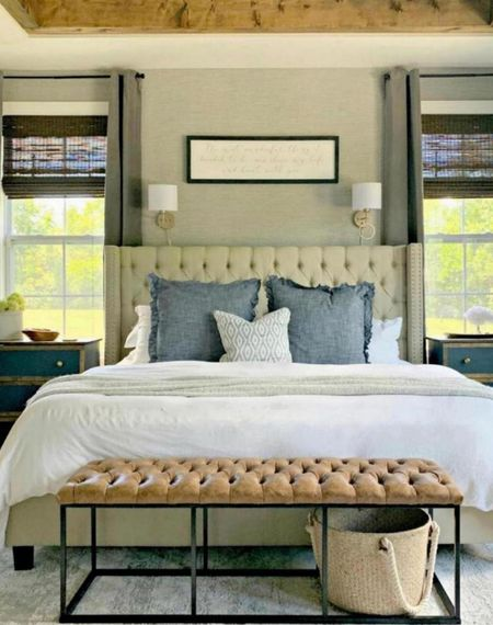 Our master bedroom! In love with our linen bedding, leather bench, cozy throw pillows, neutral rug, and modern farmhouse decor!    http://liketk.it/3nEpu      @liketoknow.it  #liketkit #StayHomeWithLTK @liketoknow.it.home  bedding, master bedroom decor, fall decor, headboards, sconces, side tables, rugs, neutral rug, bedroom bench, leather bench.  Follow my shop @thriftydecorchick on the @shop.LTK app to shop this post and get my exclusive app-only content!  #liketkit #LTKhome #LTKunder100 @shop.ltk http://liketk.it/3nEpu