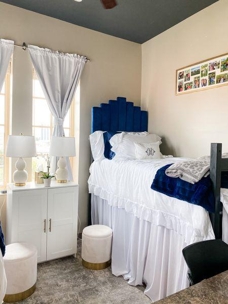 Blue snd white dorm decor🦋 #collegedays #dormroom #dormdecor #dormify #dorminspo #ikeahack   #LTKbacktoschool #LTKhome #LTKSeasonal