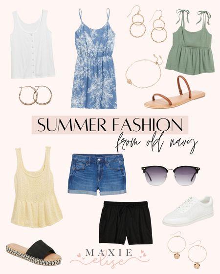 Summer Fashion Finds From Old Navy ☀️  #summerfashion #oldnavy #denimshorts #oldnavystyle #whitesneakers #summeroutfits #oldnavydress #summerdress #sandals #summershoes  #LTKunder100 #LTKunder50 #LTKstyletip